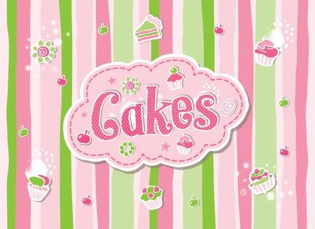Illustration - Hand-Drawn Sketchy Doodle Cake Label Vector