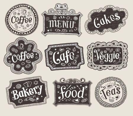 Illustration - Hand-Drawn Sketchy Doodle Label Signs Vector