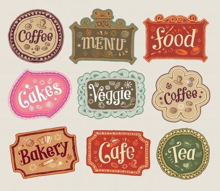 coffee shop: Illustration - Hand-Drawn Sketchy Doodle Label Signs