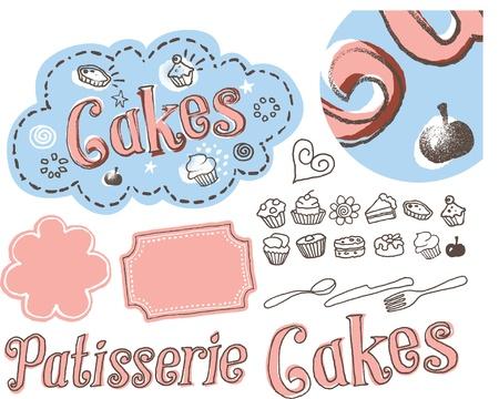 patisserie: Hand drawn sketchy cake label illustration
