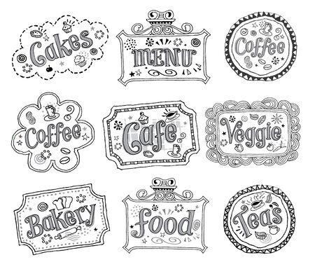 bakery sign: Dibujado a mano las etiquetas incompletas