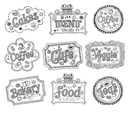 Hand drawn sketchy labels Çizim