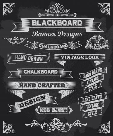 黒板書道バナーとリボンのベクトルのデザイン