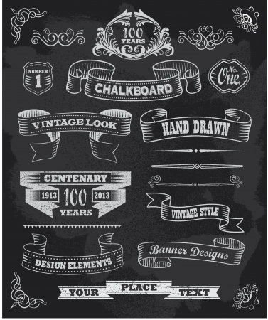 Hand drawn blackboard chalkboard banner and ribbon