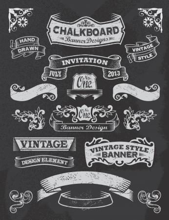 Chalkboard calligraphy banners  Vector