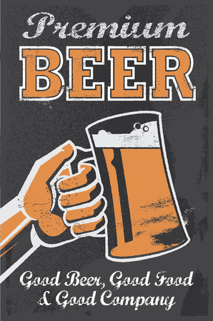 Vintage chalkboard brewery beer sign Vector