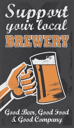 Vintage chalkboard brewery beer sign Vector