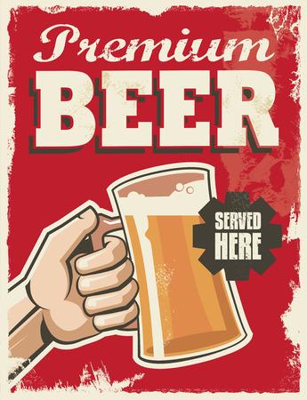 vasos de cerveza: Muestra del vintage - cartel de la bandera de la cerveza