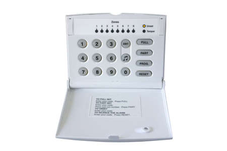 tamper: Alarm Control box isolated on white, with clipping path. Stock Photo