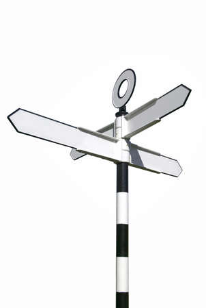 Traditional English village signpost, blank for your own text. With clipping path. photo