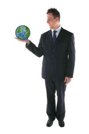 Businessman smiling at a globe in his hand,isolated on white.Globe from NASA images. photo
