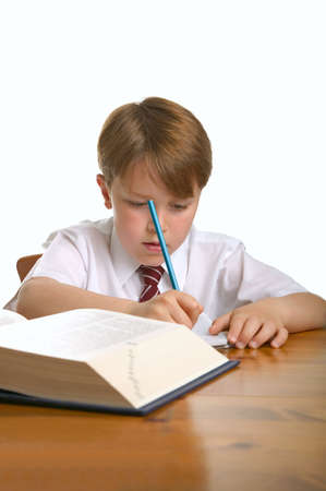 scholastic: Schoolboy doing his homework, isolated against a white background.