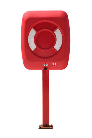 Life buoy cabinet, isolated on white, with clipping path. photo