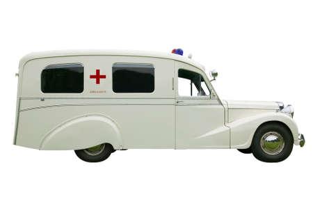 yesteryear: Vintage Ambulancia de edad, aislado en blanco.  Foto de archivo