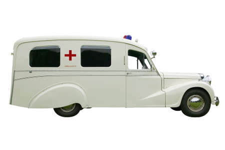 yesteryear: Vintage old Ambulance, isolated on white.