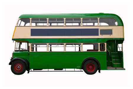 Vintage green double decker bus, isolated on white. photo