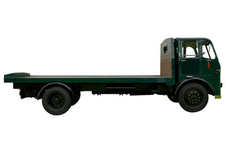 yesteryear: Vintage flatbed lorry, isolated on white.