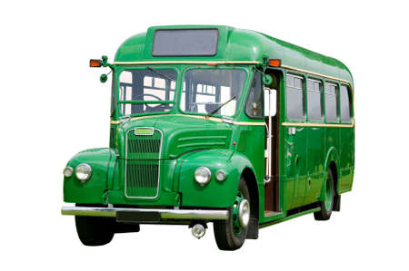 Vintage green bus, isolated on white.  photo
