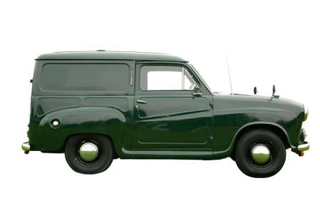 old fashioned: Vintage green delivery van, isolated on white