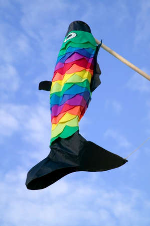 Colourful fish windsock against a blue sky. photo