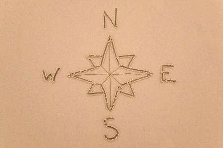 compas de dibujo: Compass puntos dibujados en la arena.