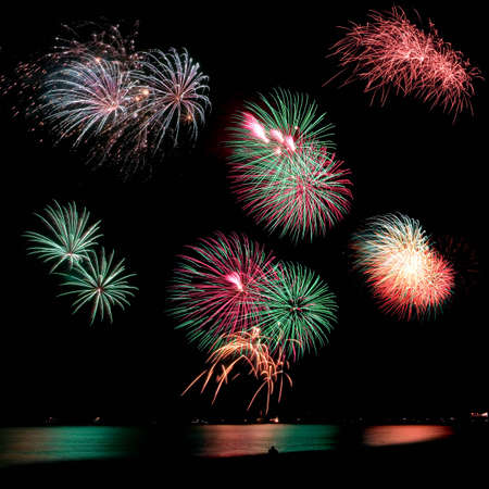 guy fawkes night: Firework display at the beach. Stock Photo