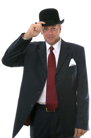 tipping: Businessman in bowler hat gesturing a welcome.