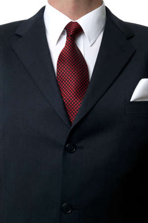 close fitting: Close up of a businessman wearing a blue suit, white shirt and red star tie.