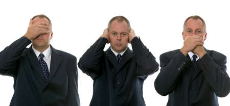 understand: Businessman image depicting the phrase - See no,Hear no,Speak no. Communication concepts.