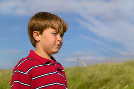 Young boy chewing straw outdoors on a summer day. Stock Photo - 1728251