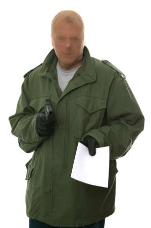 Armed robber holding out a blank demand, enter your own text. Isolated on white. Stock Photo - 1728255