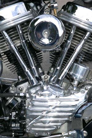 Chrome engine on a custom motorcycle close up.