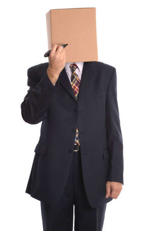 Concept businessman image, Box Man with a marker pen, draw your own face.