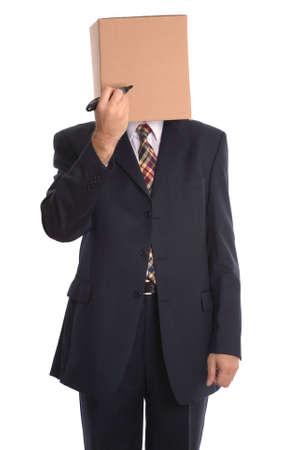 oneness: Concetto immagine uomo d'affari, Box Man con un marcatore di penna, disegnare il tuo volto.  Archivio Fotografico