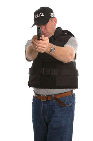 Undercover armed Police officer aiming his handgun at you. photo