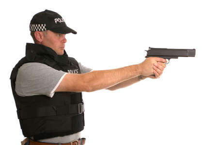 police body: Undercover armed Police officer side profile.