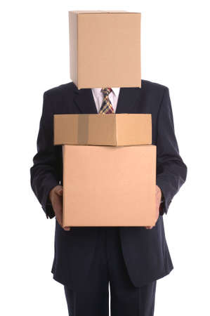 inconspicuous: Businessman with a box on his head making a delivery. Stock Photo