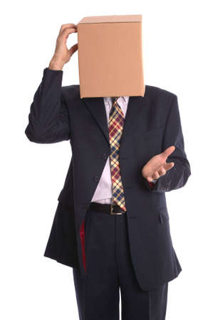 inconspicuous: Thinking outside the box. Concept businessman image. Stock Photo