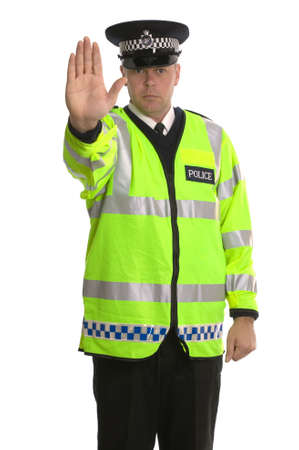 british man: Policeman in reflective jacket ordering you to STOP.