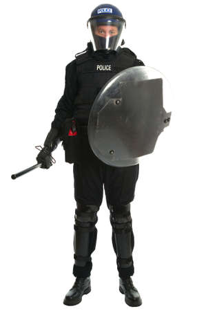 Policeman in full riot gear Stock Photo