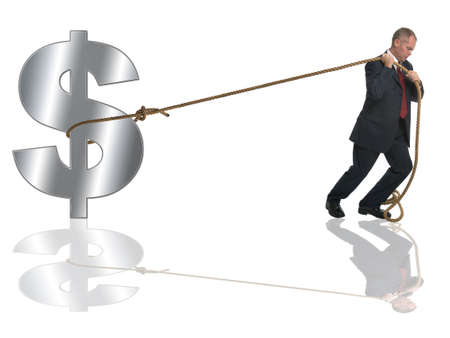 Businessman pulling along a silver dollar by a length of rope. photo