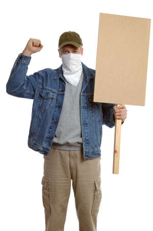 dissent: Masked protester with clenched fist, holding a blank placard for you to add your own text.