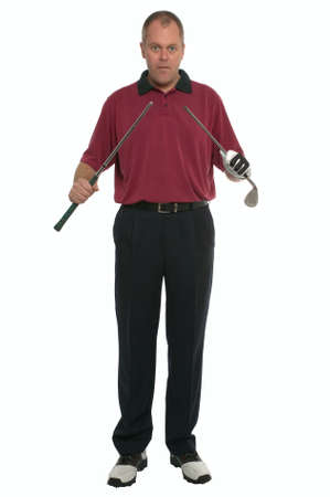 bad temper: Golfer with a broken club in his hands about to say Oh F...