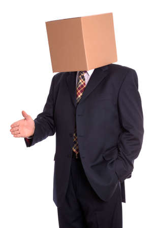 Anonymous businessman with a box on his head offering a handshake. photo