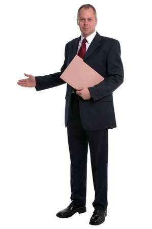 Businessman holding a document wallet with his arm out in a welcoming gesture. Stock Photo