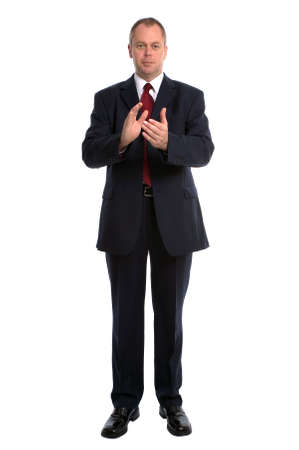 Businessman clapping his hands together. Isolated on white. photo