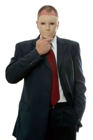 alter ego: Businessman hiding his identity behind a face mask.