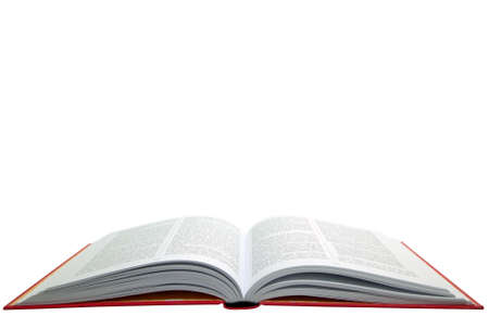 hardback: An open hardback text book, isolated on a white background