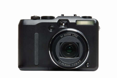 Front of a compact digital camera, isolated on white  photo