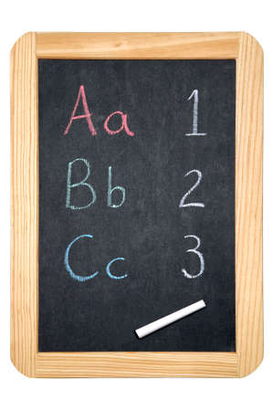 phonetic: ABC &amp, 123 on a blackboard, isolated on white with